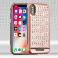 Asmyna Diamante FullStar Protector Cover for Apple iPhone XS/X - Rose Gold / Iron Gray