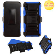 Asmyna Advanced Armor Stand Protector Cover Combo (with Black Holster) for Apple iPhone XS/X - Black / Blue