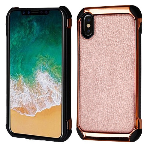 Asmyna Astronoot Protector Cover for Apple iPhone XS/X - Rose Gold Lychee Grain(Rose Gold Plating) / Black