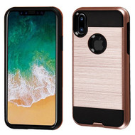 Asmyna Brushed Hybrid Protector Cover for Apple iPhone XS/X - Rose Gold / Black