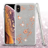 Asmyna Full Glitter Hybrid Protector Cover for Apple iPhone XS Max - Butterflies in Spring Flowers