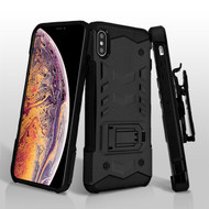 Asmyna Falcon Star Hybrid Protector Cover Combo with holster for Apple iPhone XS Max - Black / Black