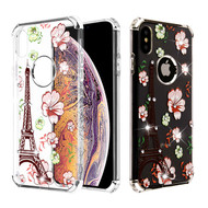 Asmyna Diamante Klarion Candy Skin Cover for Apple iPhone XS Max - Electroplating Silver / Eiffel Tower in the Season of Blooming