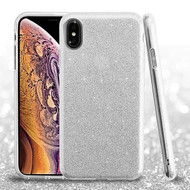 Asmyna Full Glitter Hybrid Protector Cover for Apple iPhone XS Max - Silver