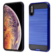 Asmyna Brushed Hybrid Protector Cover for Apple iPhone XS Max - Dark Blue / Black