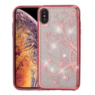 Asmyna Full Glitter Hybrid Protector Cover for Apple iPhone XS Max - Electroplating Rose Gold Maple Vine (Transparent Clear)