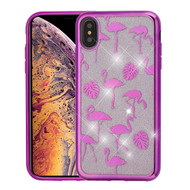 Asmyna Full Glitter Hybrid Protector Cover for Apple iPhone XS Max - Electroplating Purple Flamingo Land (Transparent Clear)