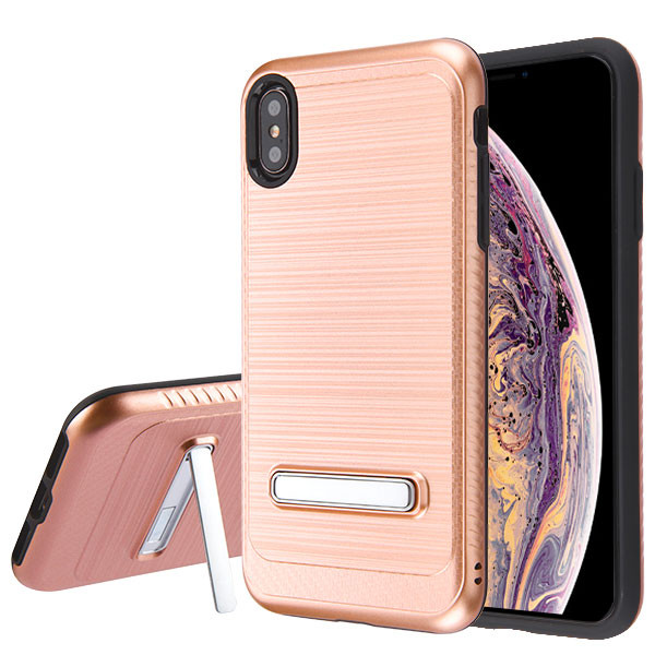 Asmyna Hybrid Protector Cover (with Magnetic Metal Stand) for Apple iPhone XS Max - Rose Gold Brushed & Carbon Fiber Accent / Black
