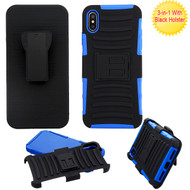 Asmyna Advanced Armor Stand Protector Cover Combo (with Black Holster) for Apple iPhone XS Max - Black / Dark Blue