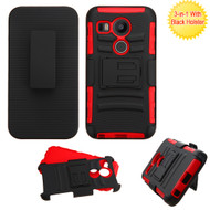 Asmyna Advanced Armor Stand Protector Cover Combo (with Black Holster) for Lg H790 (Nexus 5X) - Black / Red