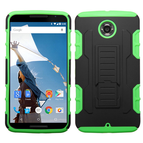 Asmyna Car Armor Stand Protector Cover (Rubberized) for Motorola XT1103 (Nexus 6) - Black / Electric Green