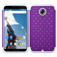 Asmyna FullStar Protector Cover for Motorola XT1103 (Nexus 6) - Purple / Solid White