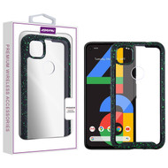 Asmyna Splash Hybrid Case for Google Pixel 4a - Highly Transparent Clear / Black