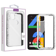 Asmyna Splash Hybrid Case for Google Pixel 4a - Highly Transparent Clear / White