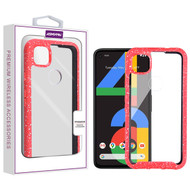 Asmyna Splash Hybrid Case for Google Pixel 4a - Highly Transparent Clear / Red
