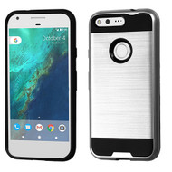 Asmyna Brushed Hybrid Protector Cover for Google Pixel (5.0) - Silver / Black