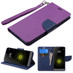 Asmyna Liner MyJacket wallet (with Lanyard) for Lg G5 - Purple Pattern / Dark Blue