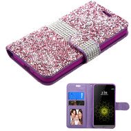 Asmyna Mini Crystals with Silver Belt MyJacket Wallet for Lg G5 - Purple