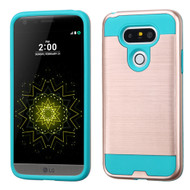 Asmyna Brushed Hybrid Protector Cover for Lg G5 - Rose Gold / Tropical Teal
