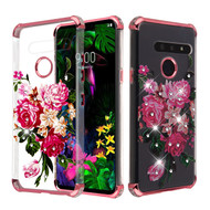 Asmyna Diamante Klarion Candy Skin Cover for Lg G8 ThinQ - Electroplating Rose Gold / Pink Peony