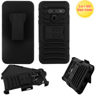 Asmyna Advanced Armor Stand Protector Cover Combo (with Black Holster) for Lg G8 ThinQ - Black / Black
