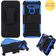 Asmyna Advanced Armor Stand Protector Cover Combo (with Black Holster) for Lg G8 ThinQ - Black / Dark Blue