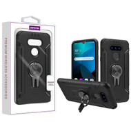 Asmyna Hybrid Protector Cover (with Ring Stand) for Lg Harmony 4 - Black / Black