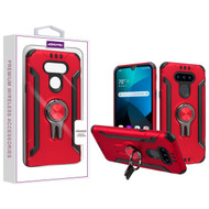 Asmyna Hybrid Protector Cover (with Ring Stand) for Lg Harmony 4 - Red / Black