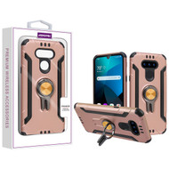 Asmyna Hybrid Protector Cover (with Ring Stand) for Lg Harmony 4 - Rose Gold / Black