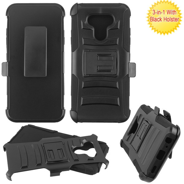 Asmyna Advanced Armor Stand Protector Cover Combo (with Black Holster) for Lg Harmony 4 - Black / Black