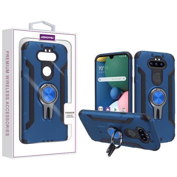 Asmyna Hybrid Protector Cover (with Ring Stand) for Lg Phoenix 5 - Ink Blue / Black
