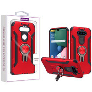 Asmyna Hybrid Protector Cover (with Ring Stand) for Lg Phoenix 5 - Red / Black