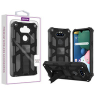 Asmyna Sturdy Hybrid Protector Cover (with Stand) for Lg Phoenix 5 - Black / Black