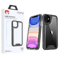 MyBat Pro Lux Series Hybrid Case (Tempered Glass Screen Protector) for Apple iPhone 11 - Black / Transparent Clear