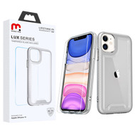 MyBat Pro Lux Series Hybrid Case (Tempered Glass Screen Protector) for Apple iPhone 11 - Silver / Transparent Clear