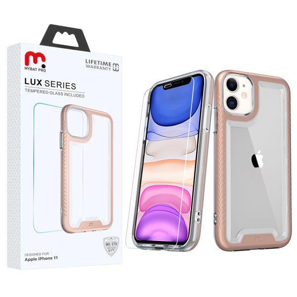 MyBat Pro Lux Series Hybrid Case (Tempered Glass Screen Protector) for Apple iPhone 11 - Rose Gold / Transparent Clear
