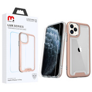 MyBat Pro Lux Series Hybrid Case (Tempered Glass Screen Protector) for Apple iPhone 11 Pro - Rose Gold / Transparent Clear