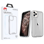 MyBat Pro Lux Series Hybrid Case (Tempered Glass Screen Protector) for Apple iPhone 11 Pro Max - Silver / Transparent Clear
