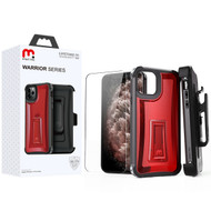 MyBat Pro Warrior Series Hybrid Case Combo (with Black Holster)(Tempered Glass Screen Protector) for Apple iPhone 11 Pro Max - Transparent Smoke / Black