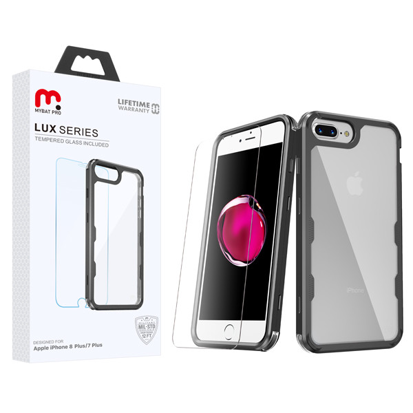 MyBat Pro Lux Series Hybrid Case (Tempered Glass Screen Protector)[Military-Grade Certified] for Apple iPhone 8 Plus/7 Plus - Black / Transparent Clear