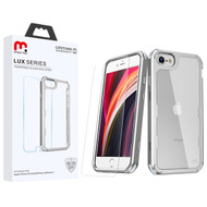 MyBat Pro Lux Series Hybrid Case (Tempered Glass Screen Protector)[Military-Grade Certified] for Apple iPhone SE (2020) - Silver / Transparent Clear