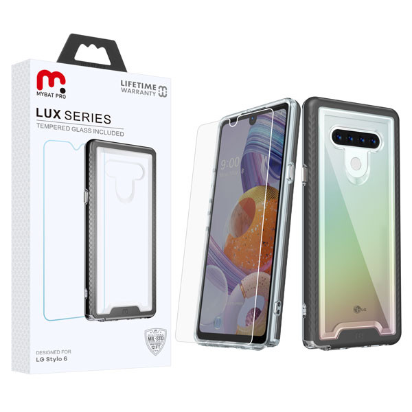 MyBat Pro Lux Series Hybrid Case (Tempered Glass Screen Protector) for Lg Stylo 6 - Black / Transparent Clear