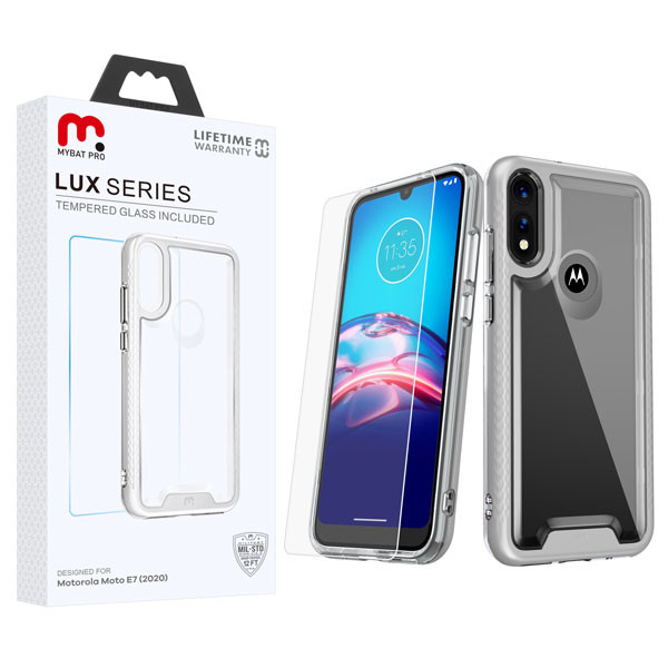 MyBat Pro Lux Series Hybrid Case (Tempered Glass Screen Protector) for Motorola Moto E (2020) - Silver / Transparent Clear