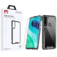 MyBat Pro Lux Series Hybrid Case (Tempered Glass Screen Protector) for Motorola Moto G Fast - Black / Transparent Clear