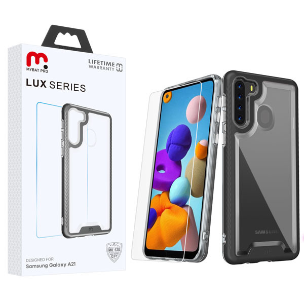 MyBat Pro Lux Series Hybrid Case (Tempered Glass Screen Protector) for Samsung Galaxy A21 - Black / Transparent Clear