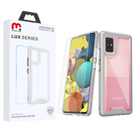MyBat Pro Lux Series Hybrid Case (Tempered Glass Screen Protector) for Samsung Galaxy A51 5G - Silver / Transparent Clear