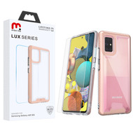 MyBat Pro Lux Series Hybrid Case (Tempered Glass Screen Protector) for Samsung Galaxy A51 5G - Rose Gold / Transparent Clear