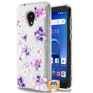 MyBat Full Glitter TUFF Hybrid Protector Cover for Alcatel 1X Evolve - Purple Stargazers Diamante