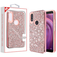 MyBat Encrusted Rhinestones Hybrid Case for Alcatel 5032w (3v 2019) - Electroplated Pink / Pink