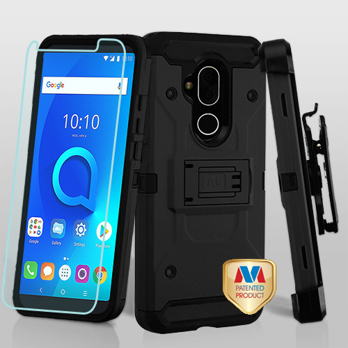 MyBat 3-in-1 Kinetic Hybrid Protector Cover Combo (with Black Holster)(Tempered Glass Screen Protector) for Alcatel 7 Folio - Black / Black